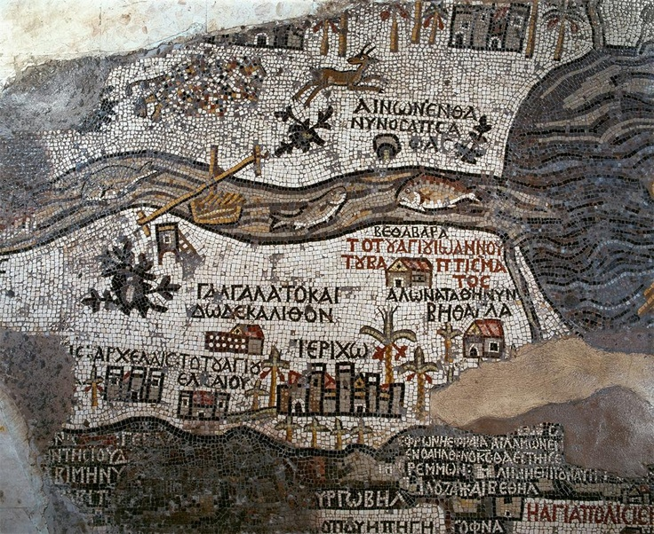Map of madaba mosaic floor of early christian church detail of the