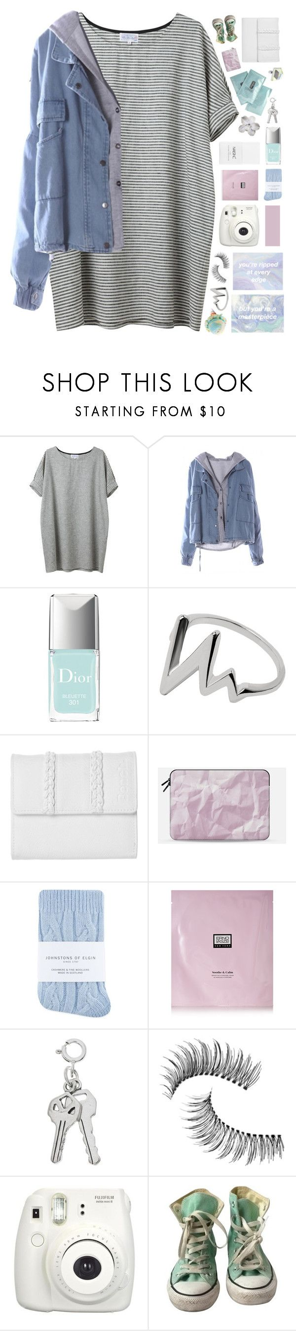 """""""BRAND NEW SOUNDS IN MY MIND"""" by w-anderess ❤ liked on Polyvore featuring Christian Dior, Bench, Nails Inc., Casetify, Johnstons, Erno Laszlo, Trish McEvoy, Fujifilm, Converse and hannahs5kchallenge"""