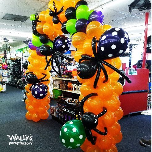Creepy Door Arch with Crawly Polka Dot Spider Balloons on Orange Balloon Decoration for Halloween