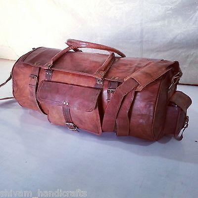Leather-Duffle-Bag-Gym-Rolling-Mens-Weekender-Brown-Travel-Luggage-Vintage