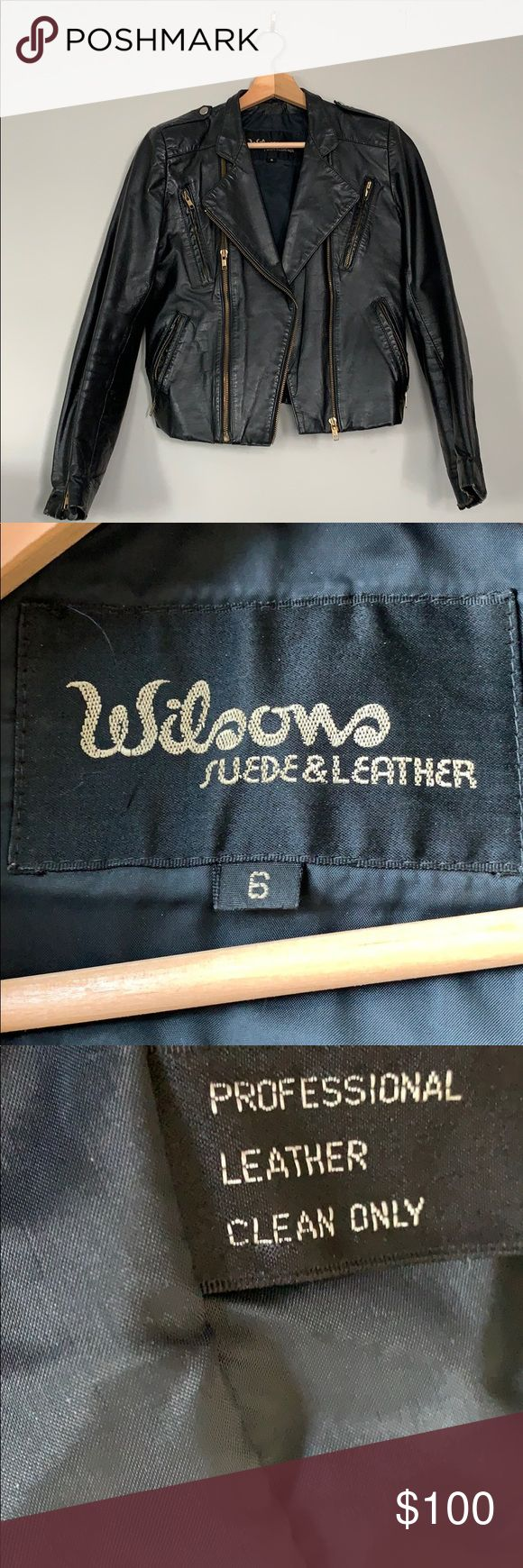 Vintage black Wilson's leather jacket Sz 6 Vintage black