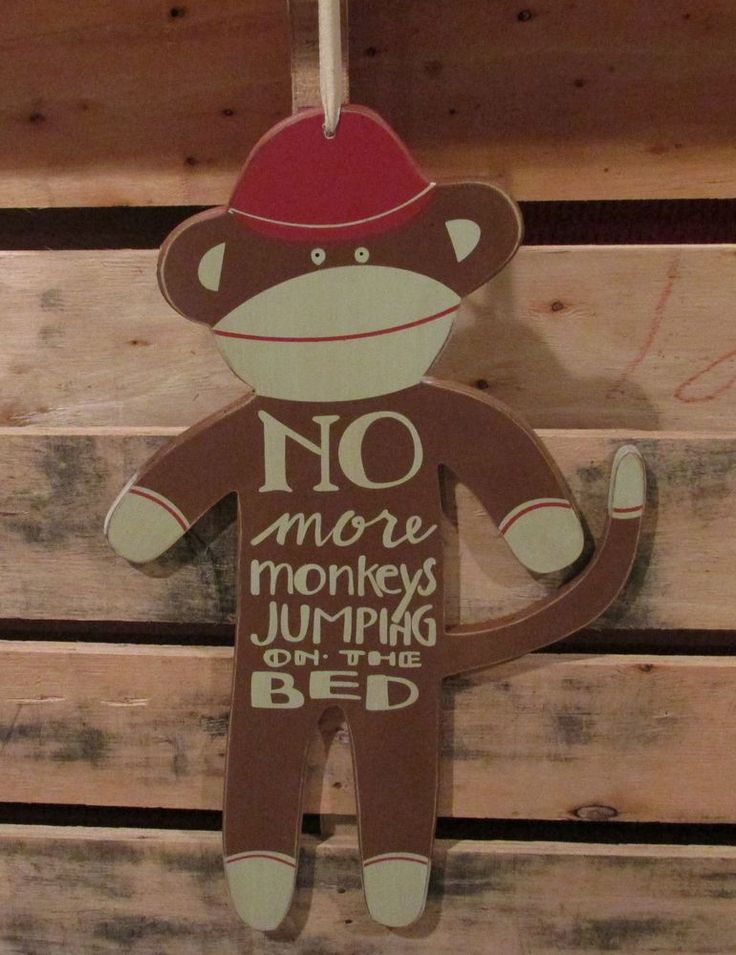 Calling all sock monkey collector's! I think you are going to LOVE this wooden monkey with the darling wording! It will look so cute hanging in a child's room, peg shelf, door knob or on a huge Christmas tree!