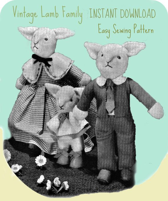 Vintage toy pattern / Lamb Family / instant download / pdf/ sewing ...