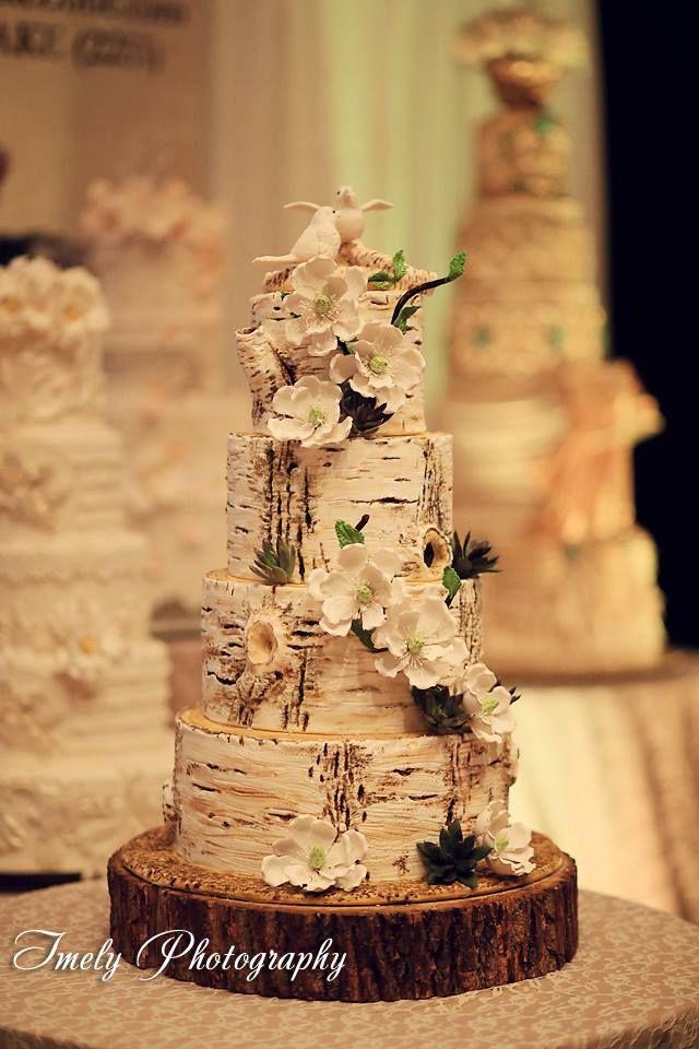 Birch+tree+trunks- Wedding cake-The Cake Zone- Loving Birds cake topper by #thecakezone, www.thecakezone.com