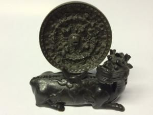 A Rare Chinese Ming Dynasty Bronze Mirror on Shi - Shi Stand