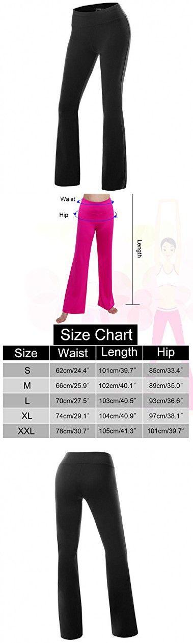 Gracyoga Women's Stretch Boot Leg Active Workout Sport Yoga Running Walking Pant (Large, Black)