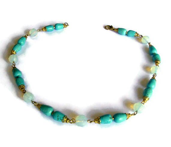 Turquoise set Necklaces Beaded Jewelry Wire wrapped necklace