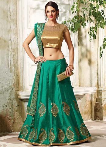 Rama Green Raw Silk Umbrella Lehenga Choli ,Indian Dresses - 1