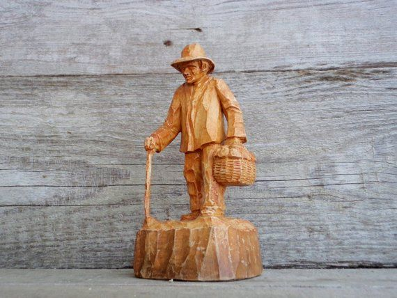 Hand Carved Wooden Man Wally the Wanderer