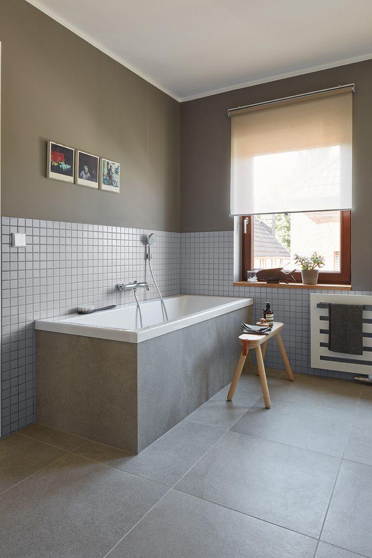 Privathaus Bonn Badezimmer Agrob Buchtal Fliese Trias Zinkgrau 60x60 Mosaik Serie