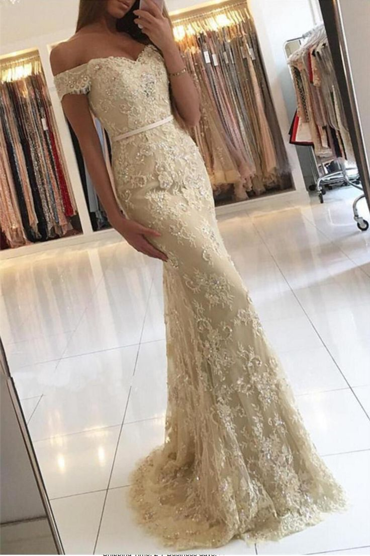 Incredibly Gold Off Shoulder Lace Mermaid Evening Prom Dresses, Sexy Gold Lace Party Prom D…