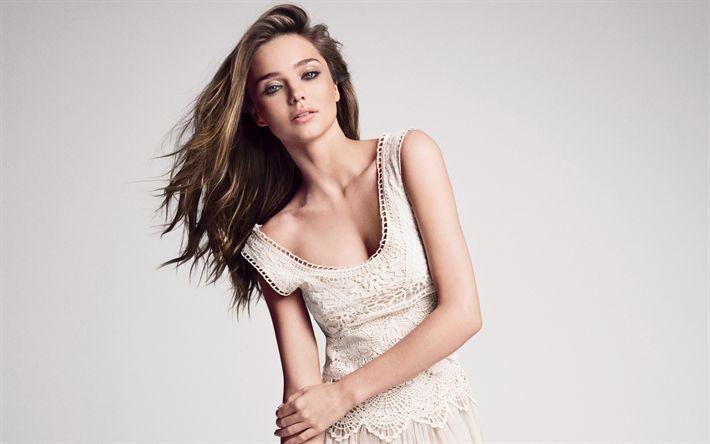 Download imagens Miranda Kerr, Jovem modelo, menina bonita, A supermodelo australiana, vestido bege