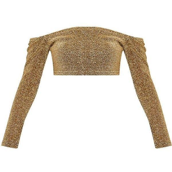 Krystle Gold Metallic Longsleeve Crop Top ($32) ❤ liked on Polyvore featuring tops, long sleeve crop top, white crop tops, long sleeve tops, white tops and sparkly tops
