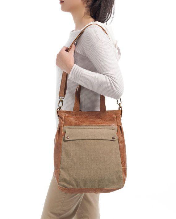 Convertible tote bag  Waxed canvas bag  Laptop tote  by Laroll