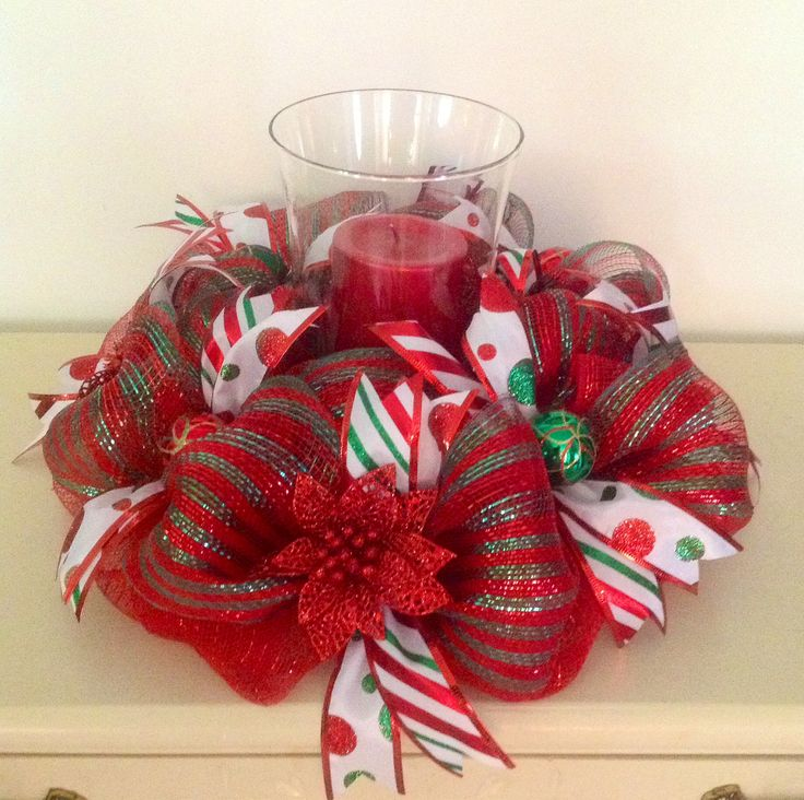 "16"" Red and Green Deco Mesh Centerpiece with 9"" Hurricane"