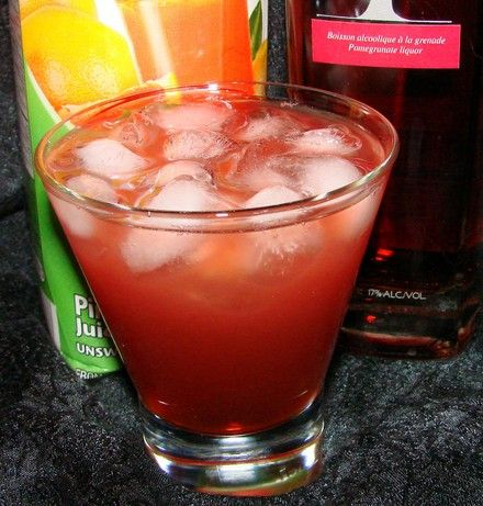 Pama Sea Breeze:  2 ounces pama pomegranate liqueur  2 ounces cranberry juice  1 ounce grapefruit juice    Build in an ice filled highball glass.
