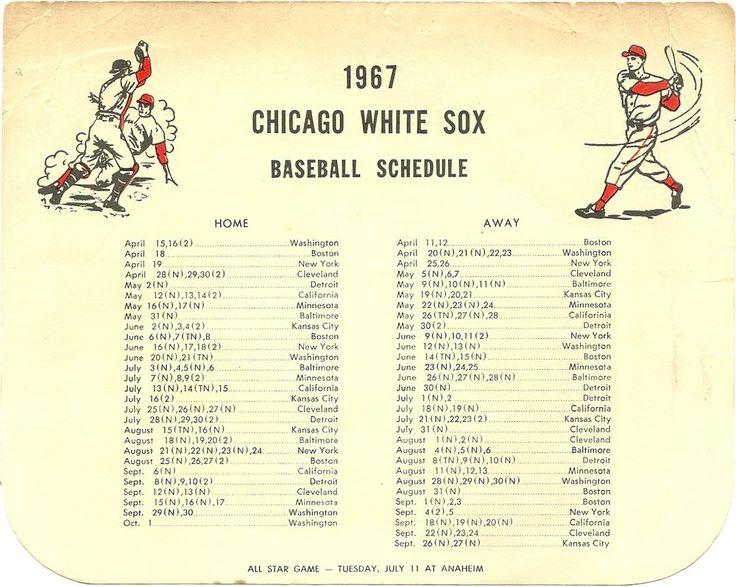 SOLD - 1967 Chicago White Sox Schedule - odd