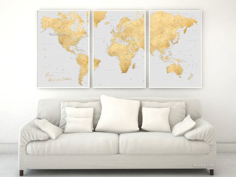 "Custom quote - highly detailed world map printable with cities, set of 3 split panels in 24x36"" each in faux gold foil and grey. Everly."