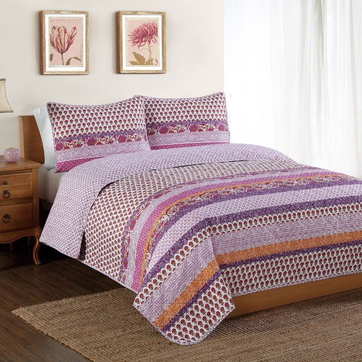 Spice Scroll Bands Quilt with Pillow Sham