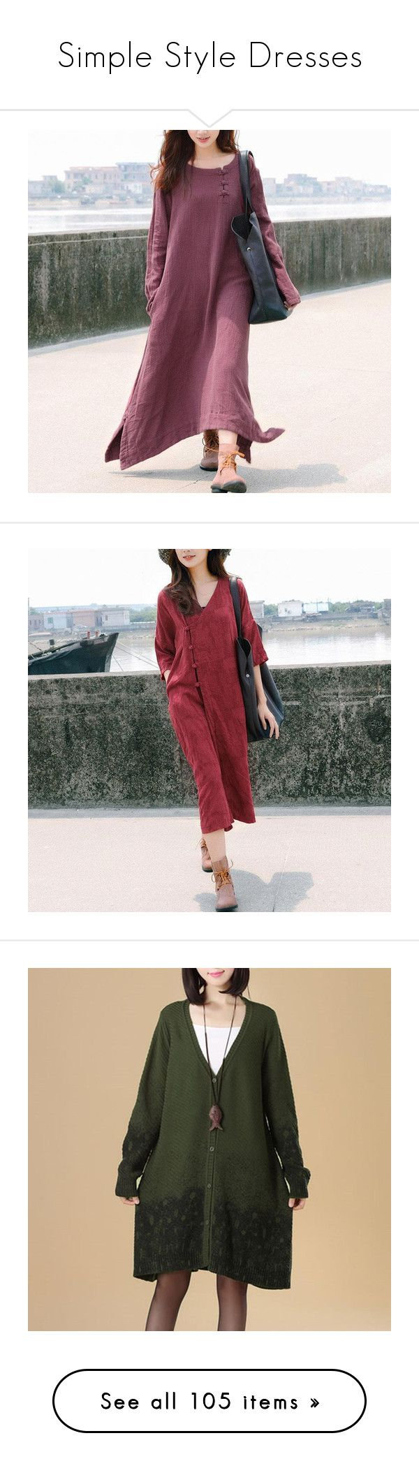 """""""Simple Style Dresses"""" by buykud on Polyvore featuring dresses, red retro dress, retro-inspired dresses, side slit dress, purple dress, long sleeve day dresses, sleeved dresses, retro-style dresses, pocket dress and red sleeve dress"""