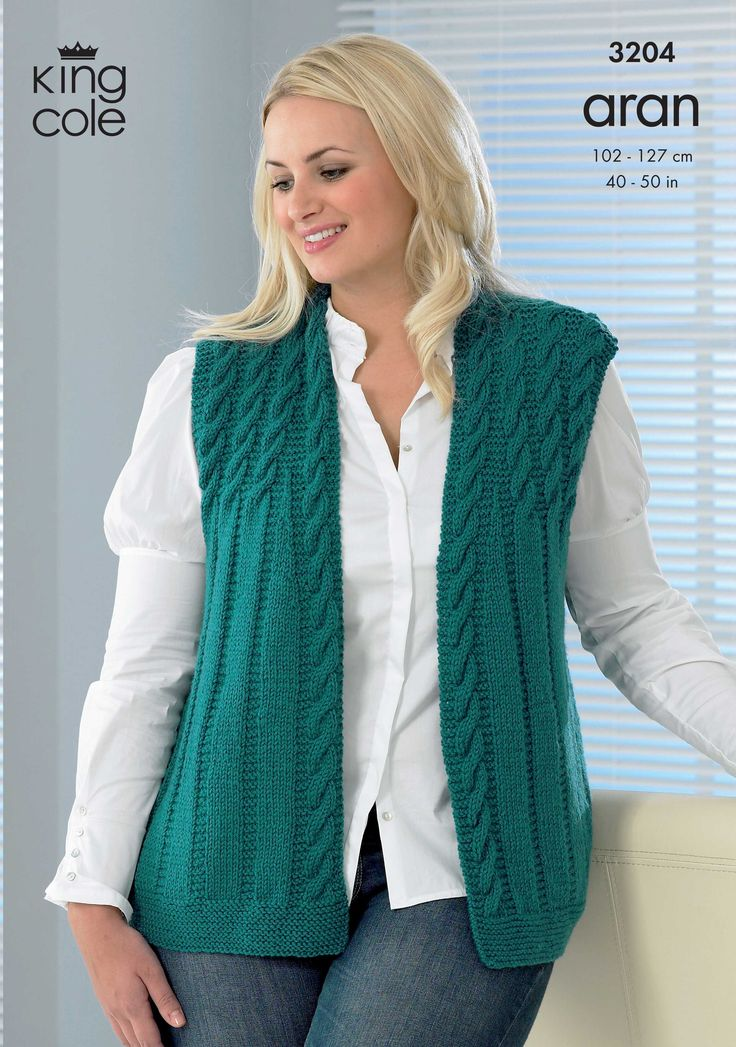 Womens Knitted Waistcoat with Great Detail - King Cole