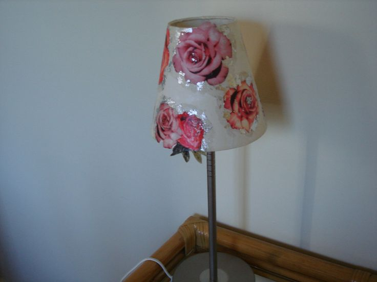 Decoupaged lampshade.