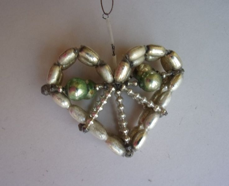 EARLY BOHEMIAN GLASS BEADED HEART CHRISTMAS ORNAMENT  | eBay