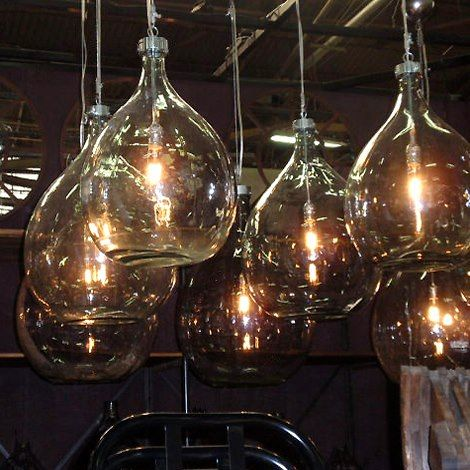 old glass bottles made into lights