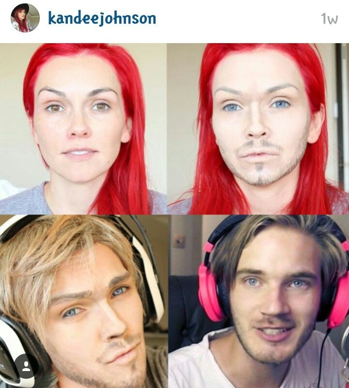AMAZING makeup transformation by Kandee Johnson on youtube, from female to male