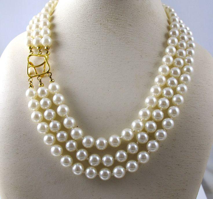 14k Three Strand Pearl Necklace Vintage Signed 14k Dm