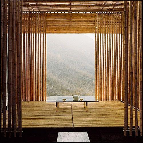 tea at Kengo Kuma's Great (Bamboo) Wall house, China