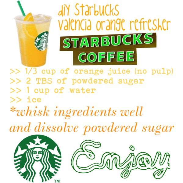 Valencia orange refresher without tea! follow me on polyvore or Pinterest for my new series of diy Mormon Starbucks drinks!
