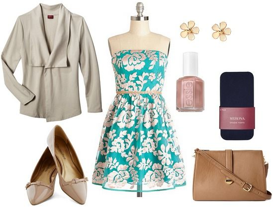 my favorite Orsay dress (the V-neck full skirt beige with floral stamped on bottom) with beige Only You blazer and camel colored flats