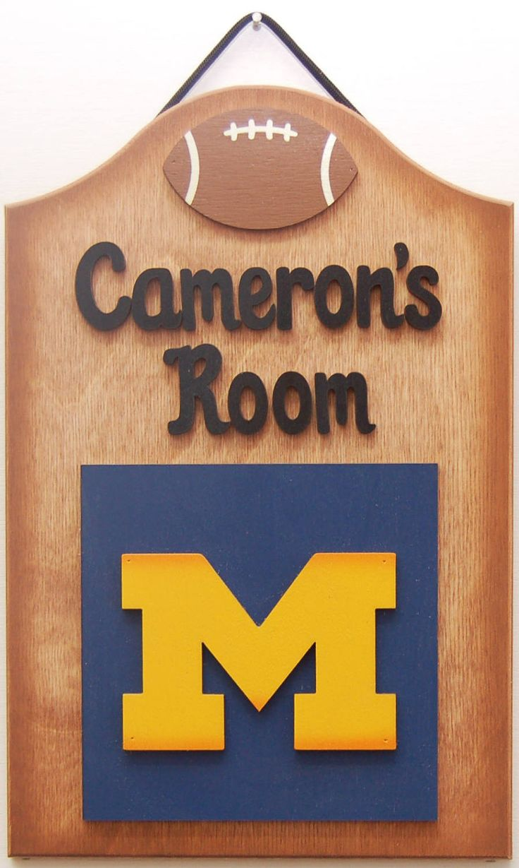 Michigan Football Personalized wooden sports signs Michigan Football kids room sign teen room sign sports bar sign Personalized Michigan by UCsportsbyBill on Etsy