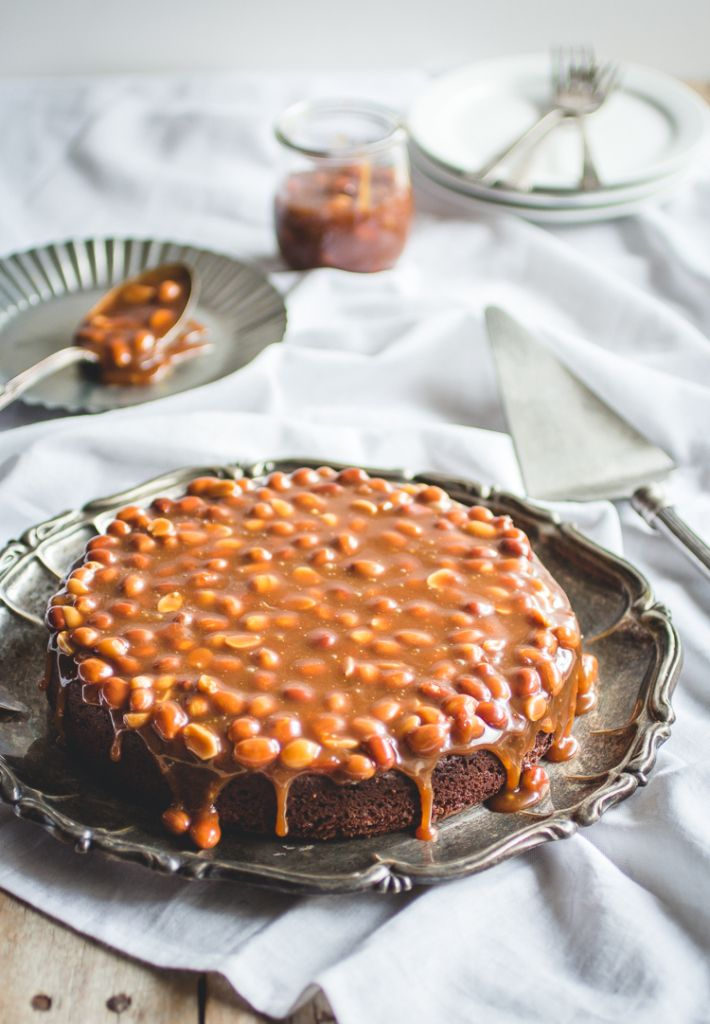 brownie cake with salted caramel & peanuts
