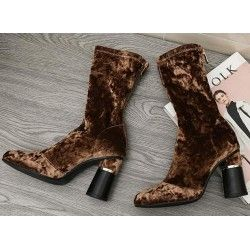 Brown Velvet Suede Stretchy Blunt Head High Heeks Mid Calf Boots Shoes
