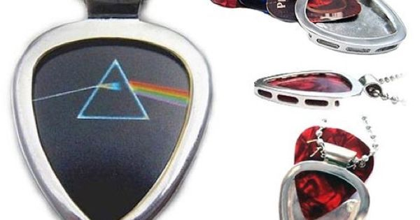 """#Sale price on #Pickbay with the #PinkFloyd #DarkSideOfTheMoon guitar pick! Classic rock fan gift! Hypoallergenic Stainless steel PICKBAY guitar pick holder pendant necklace set comes with a PINK FLOYD licensed Dark Side of the Moon guitar pick & 3 cool guitar picks a 24"""" hypoallergenic stainless steel bigger ball chain all packaged together in a velvet polishing pouch ready for gift giving! The gift they will wear forever! Ships from Los Angeles. #music"""