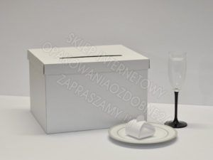 pudełko na koperty, perłowe białe