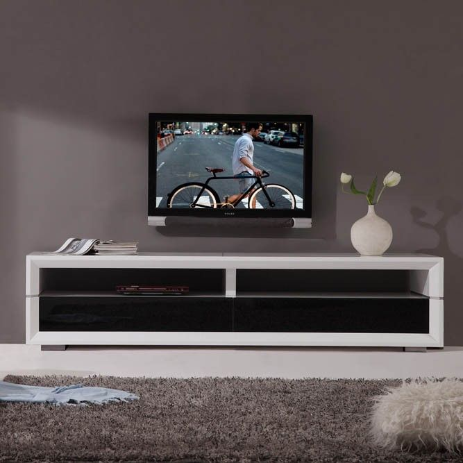 Executive Remix Tv Stand In White High Gloss Stainless Steel
