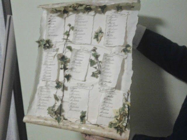 Tableau marriage in pergamena ed edera