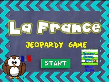 Are you looking for a fun way to test your students knowledge about France?Congratulations! I'm glad to present my Jeopardy style game about France.You need to download it on you PC with PowerPoint installed and that's it!No preparations!!!Game categories include:General questions - Questions gnralesHistory - HistoireGeography - GographieGovernment - GouvernementFood - Rpas***************************************************************************************5 questions i...