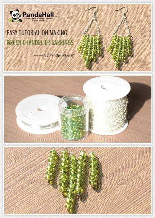 Jewelry Making Tutorial-How to Make Green Chandelier Earrings | PandaHall Beads Jewelry Blog