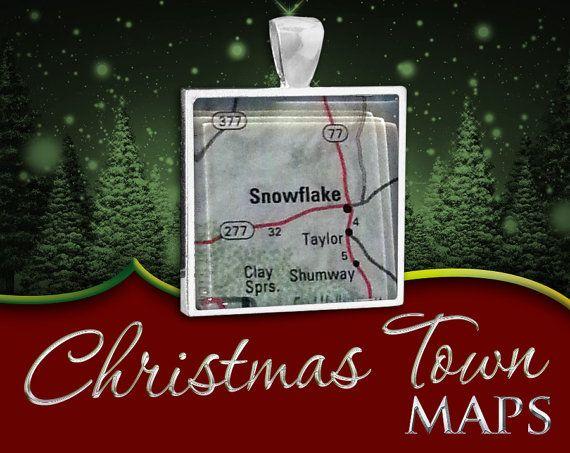 Snowflake Arizona  Christmas Town Map Pendant by NaturalCharm, $25.00