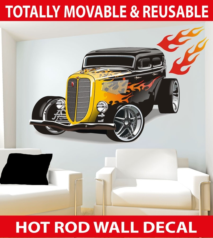 70's Hot Rod Car with Flames MOVABLE Wall Decal, $7.95 (http://www.wholesaleprinters.com.au/70s-hot-rod-car-with-flames-wall-decal)
