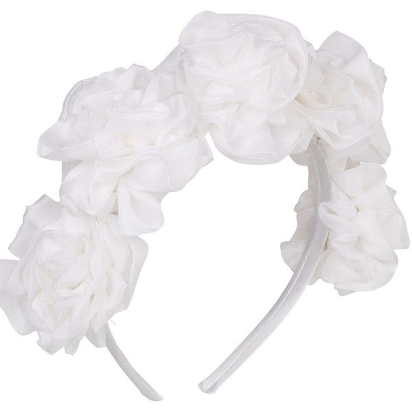 Vjera Vilicnik - Dianthus Headband White (500 SEK) ❤ liked on Polyvore featuring accessories, hair accessories, hair stuff, hats, white, white headband, headband hair accessories, head wrap hair accessories, head wrap headband and flower hair accessories