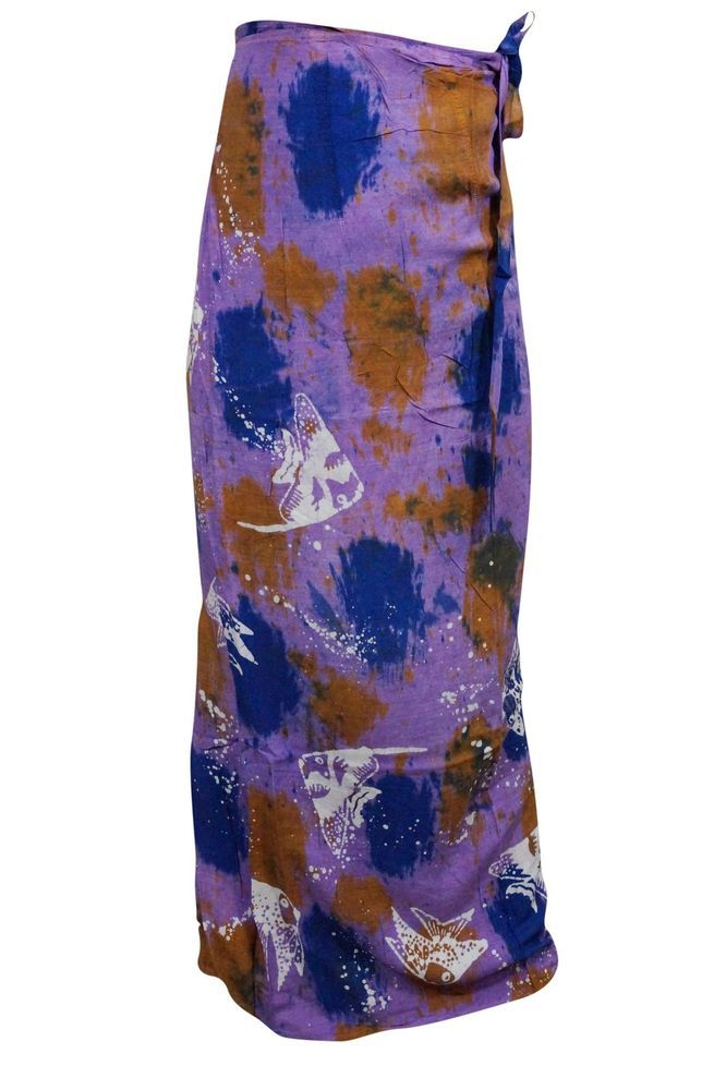 Make a style statement wearing this purple long Rayon wrap around skirt with tie dye print. Fabric:- 100% Rayon. Made in India. Skirt or halter dress.your choice ! Wraps around waist or criss cross at neck. | eBay!