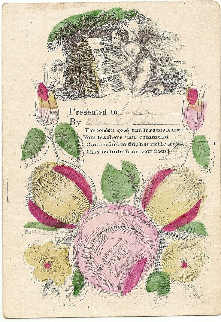 Victorian Reward of Merit - from a Teacher to Student - 1860s - hand-colored - Angel by BellaPaperGarden on Etsy
