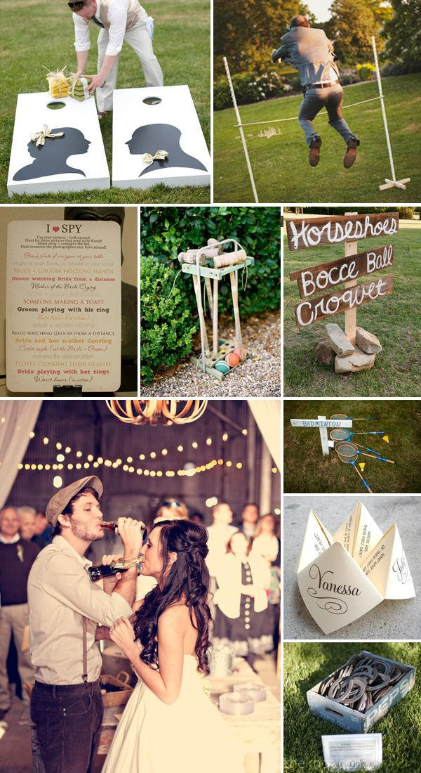 Old fashioned wedding games. Country garden style - OMG if you guys have an outside beach spot you should sooooooo talk Nick into this! Can you imagine playing Bocce Ball and Cornhole at a wedding!? That would be soooo awesome!