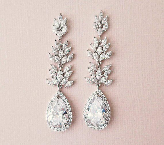 Long Wedding Earrings Sterling silver and faux diamonds earrings Earrings Chandelier Sterling silver and Zirconias earrings