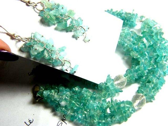 352 CTS APATITE NECKLACE EARRING SET    SG-2243 appatite necklace and earing set , gemstone set necklace and earrings, gemstone set